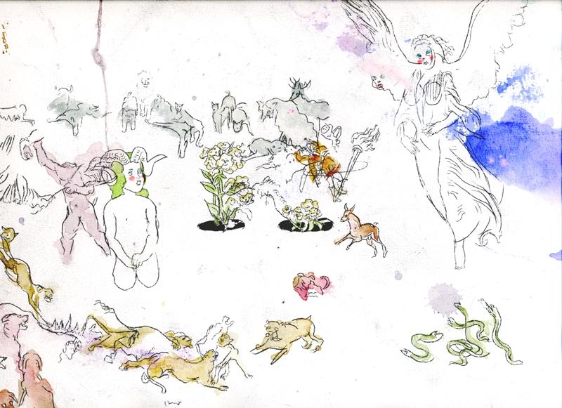 body jumping, drawings